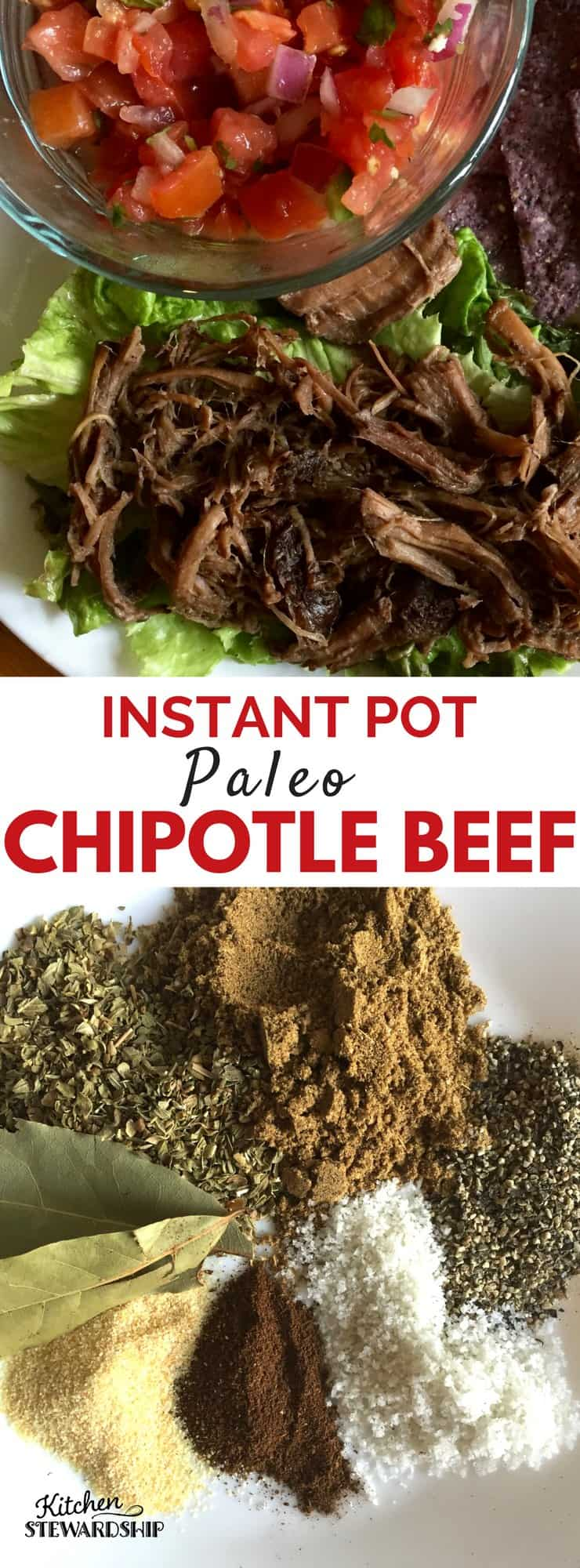 Instant pot or slow cooker chipotle beef recipe - easy to make and it's gluten free and paleo! Using an affordable cut of beef and making it delicious!