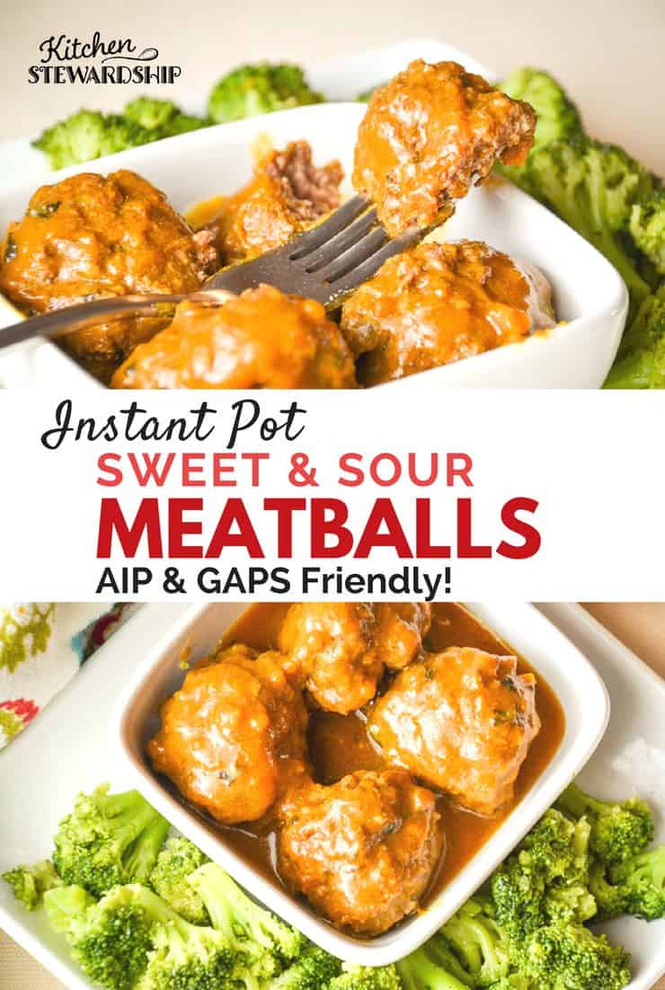 Instant Pot Sweet And Sour Meatballs - GAPS & AIP allergy friendly meal. Quickly have a healthy dinner everyone will love! Such a kid friendly dinner or great for a party too!
