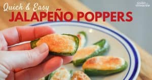 Quick and easy jalapeño popper appetizer. This will make the best party food or appetizer during a football game. Make ahead and freeze so you always have them on hand. A great way to preserve extra jalapeños during gardening season. Easy snack option too!