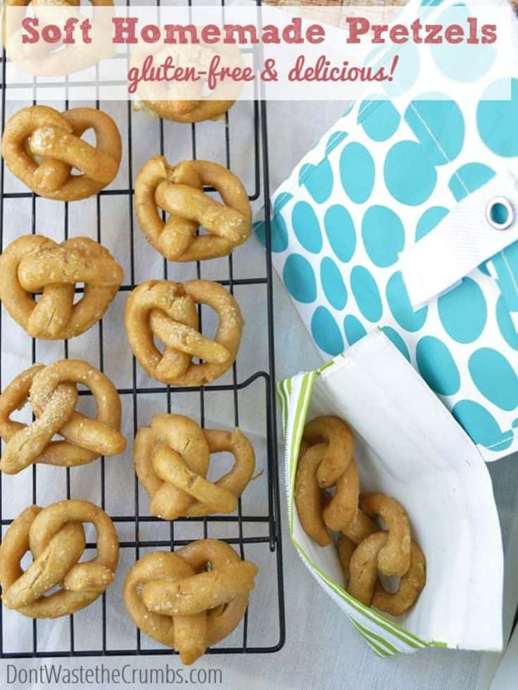 Looking for some party foods made with real food for the Big Game this weekend? Try this recipe: Soft Easy Homemade Gluten-Free Pretzels | a delicious recipe that you can make with the kids, and DOESN'T include anything artificial like the store-bought!