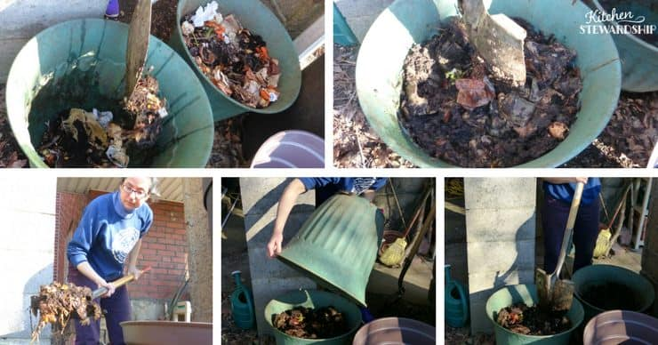 compost - new to old, shovel, dump, chop. Easy tips for starting and maintaining your compost bins. Get started today!