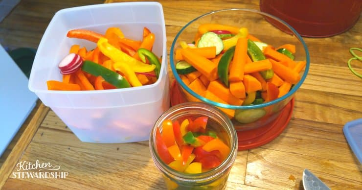 Easy steps to reduce food waste - prep veggies ahead so they are ready to eat. This will make it easier to consume them quickly.