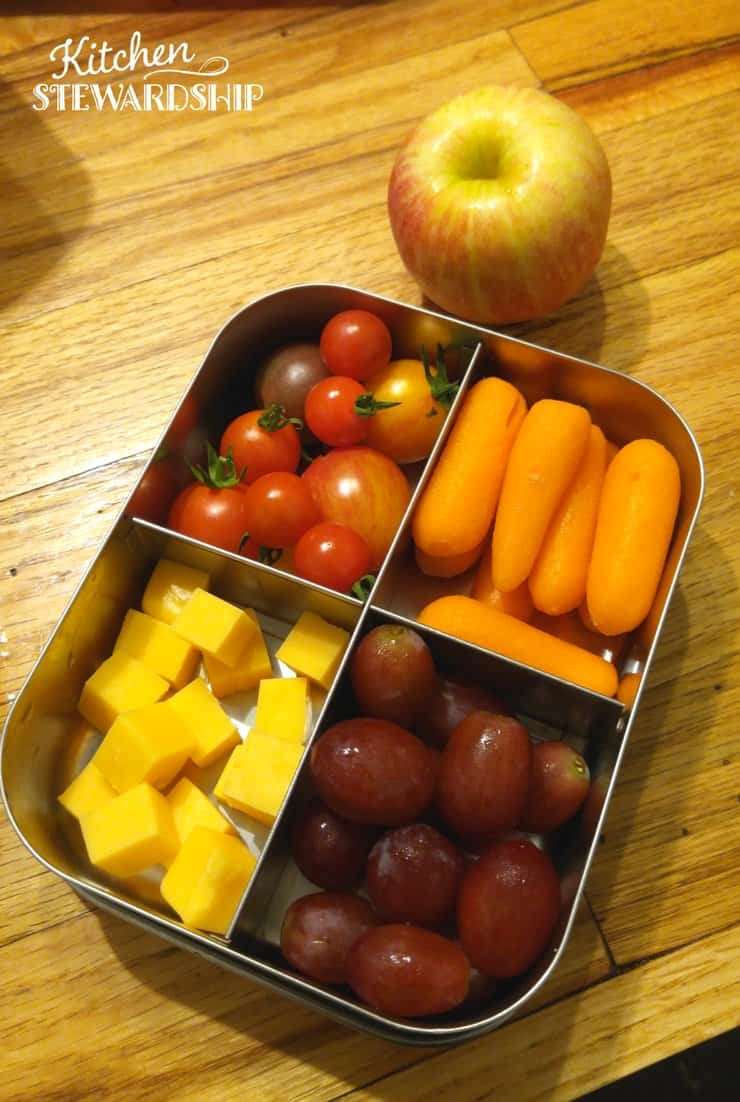 Easy steps to reduce food waste - have the kids prep their own lunch, they know how much they need and will portion it better vs. taking home uneaten food.