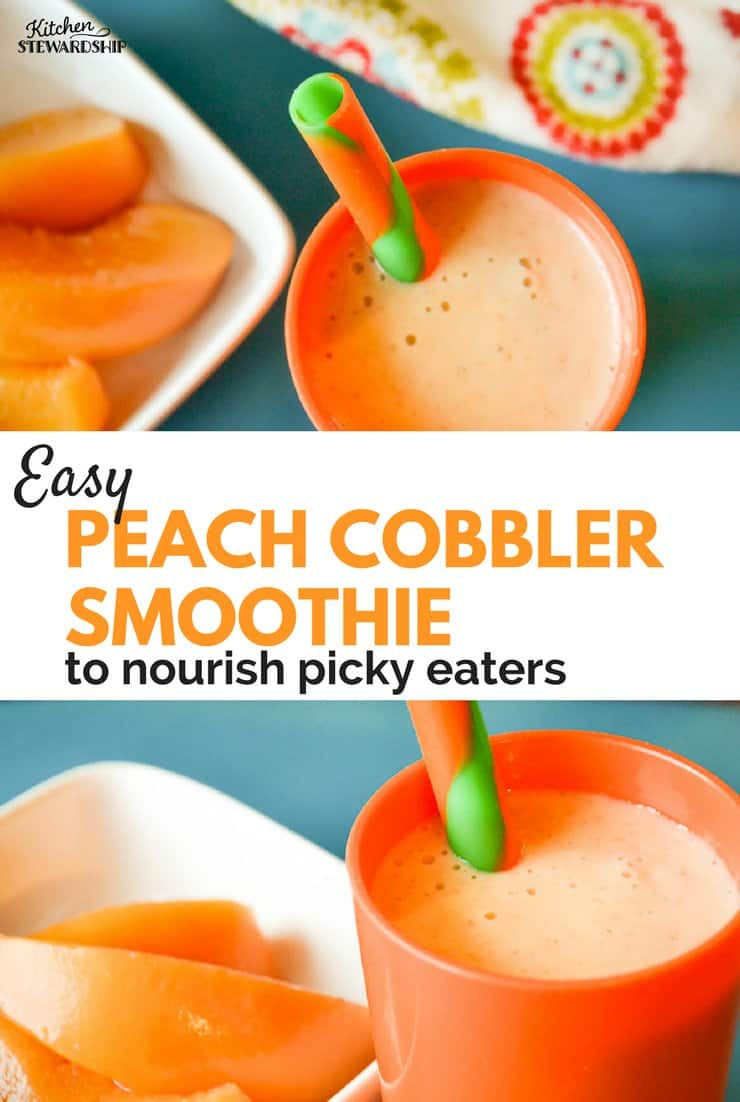 Keep your picky eater healthy and well fed with this peach cobbler smoothie. Delicious and SO healthy!