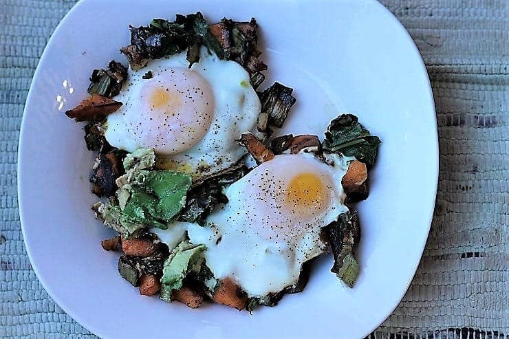 Fried Eggs over Sweet Potato and Swiss Chard Hash with Avocado