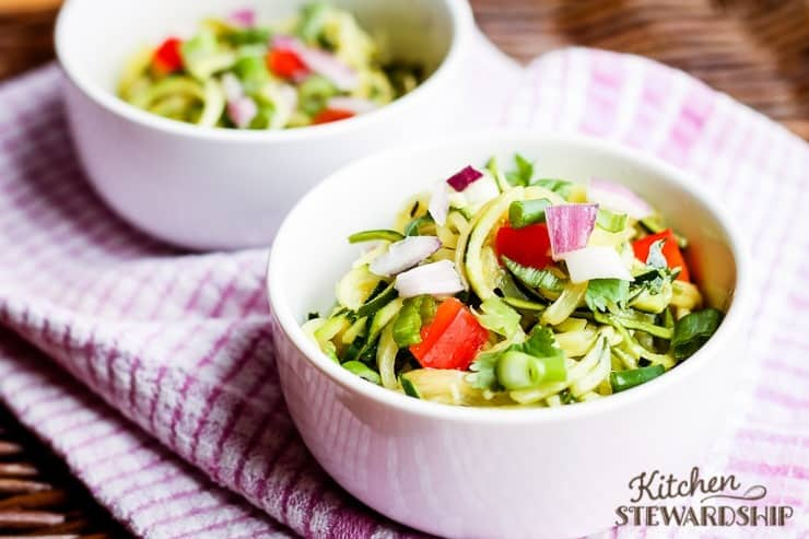 cold zoodle salad with dressing
