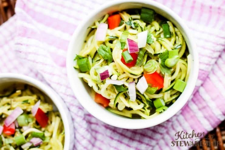 How to cook zoodles. Easy recipes and ideas on how to make these veggie pasta substitutes a staple in your home. Zoodles make an easy cold salad with dressing.