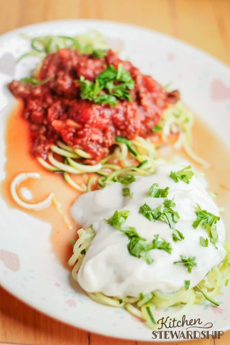 zoodle spaghetti with white sauce or red sauce