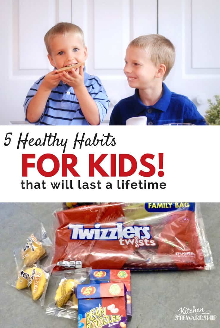 5 healthy habits for kids - smiling boys eating and junk food