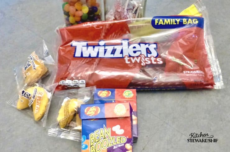 Twizzlers, fortune cookies and jelly beans