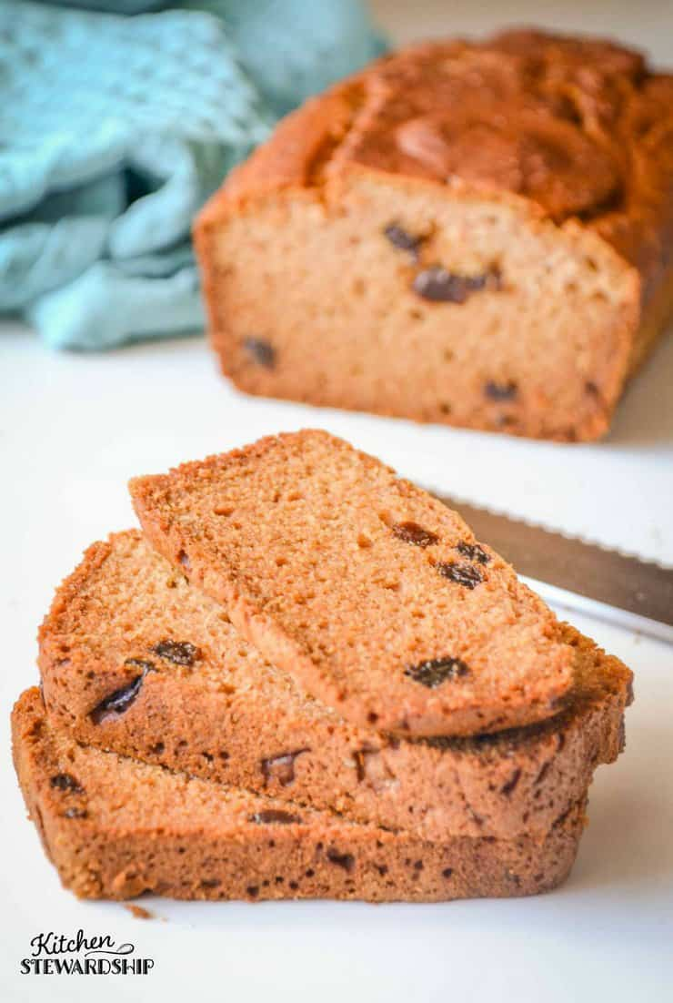 Gluten Free bread can be easy! Try this simple and delicious gluten free raisin bread. Makes a great breakfast, lunch, snack or side for soup at dinner! Yum!