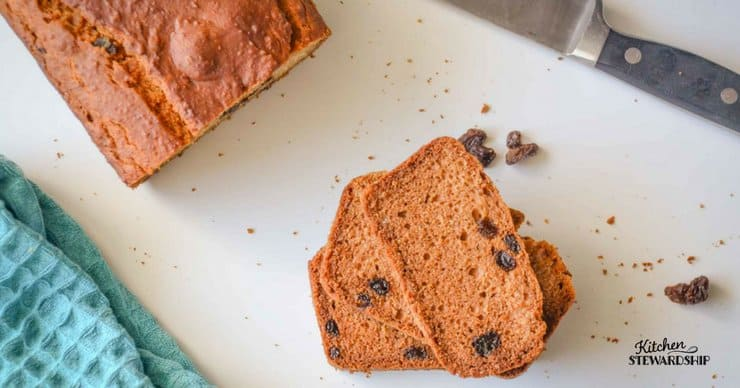 Gluten Free bread can be easy! Try this simple and delicious gluten free raisin bread. It's easy to throw together and doesn't have any strange or hard to find ingredients!
