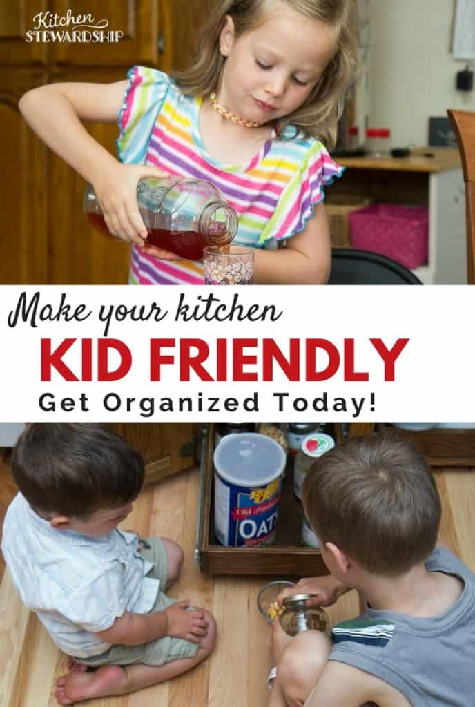 Organizing for a kid friendly kitchen
