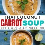 Thai Coconut Carrot soup recipe. Plus why Thai soup is so good for you. Enjoy the health benefits of this delicious soup tonight! #souprecipes #naturalremedies #naturalhealth #cleaneatingrecipes #realfood
