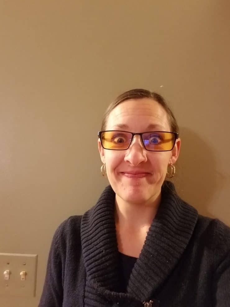 Katie Wearing Blue Blocker Glasses