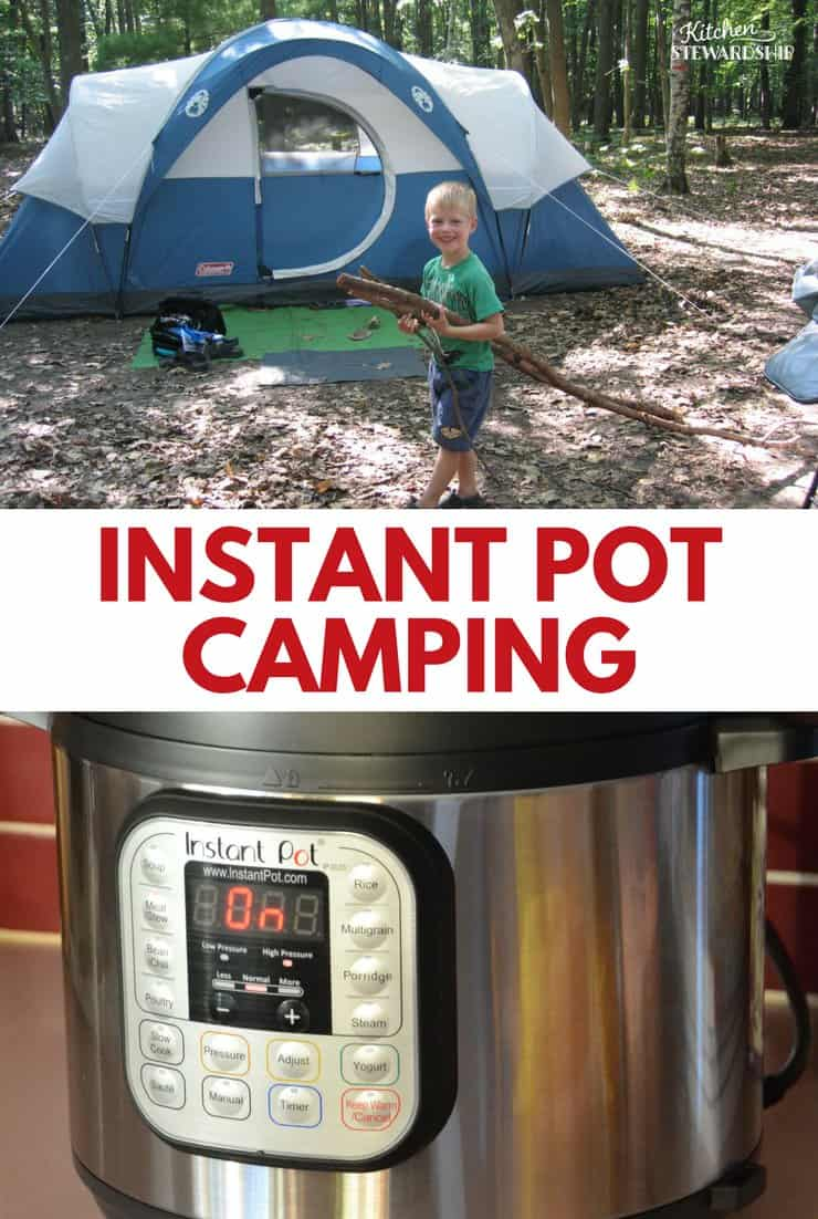 Boy at a campsite and an Instant Pot