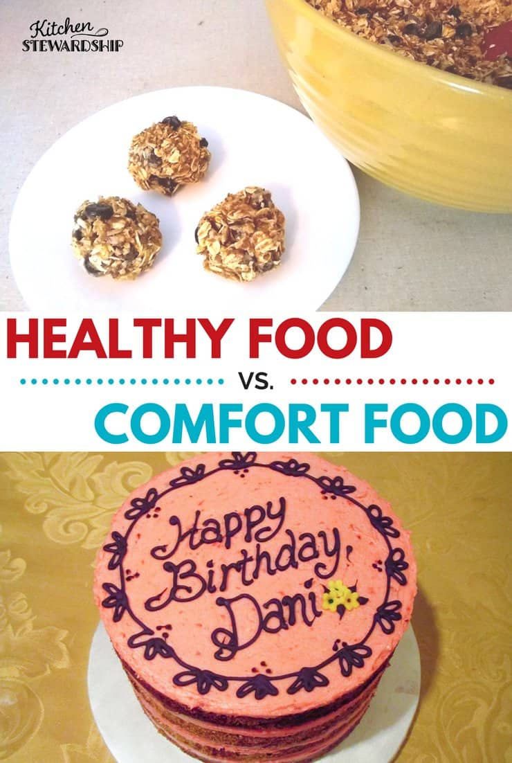 Healthy food vs. comfort food. Gluten-free energy bite recipe.