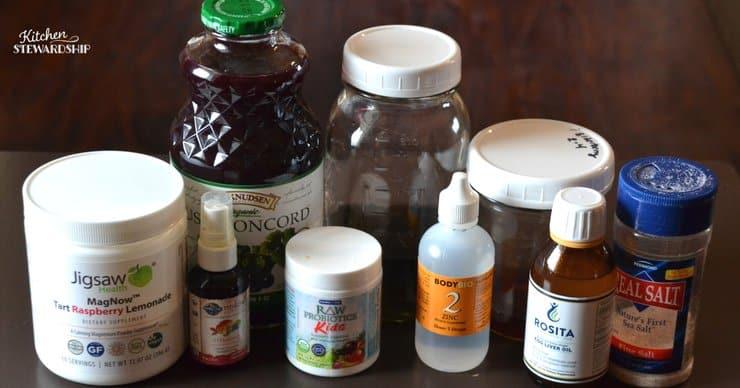 Vitamins, juice, probiotics and real salt to make smart water.