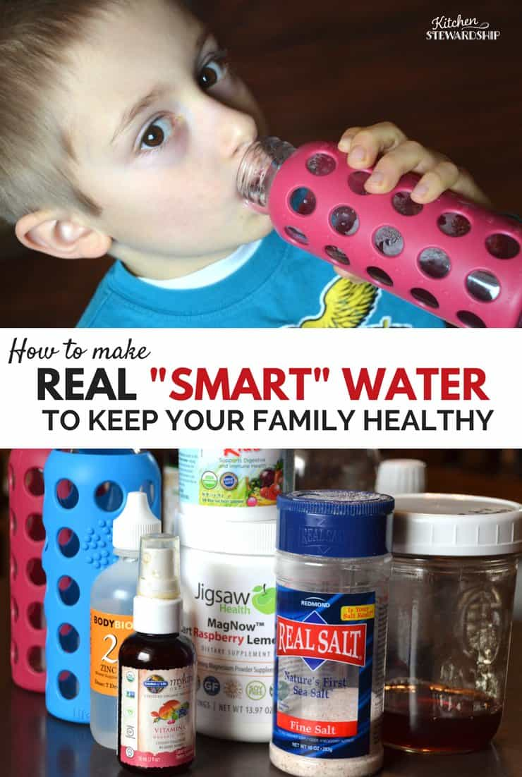 """Young boy drinking out of a glass water bottle. Vitamins, real salt and probiotics. Text reads """"How to make Real """"Smart"""" Water To Keep Your Family Healthy."""