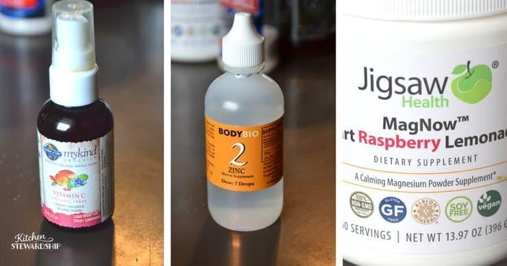 Bottles of Garden of life vitamin c, BodyBio zinc drops, Jigsaw Health Magnesium powder.