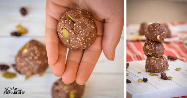Easy gluten-free nut-free mudball recipe rolled into a ball in someones hand and stacked on a table.