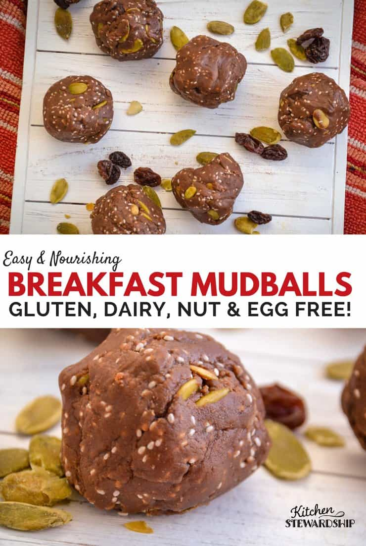 Easy gluten-free nut-free mudball recipe rolled in balls on a table.