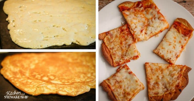 Uncook gluten-free pizza crust, half way cooked gluten-free pizza crust and the finished cheese pizza with a crispy gluten-free crust.