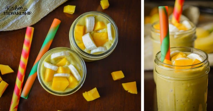 Nutrient dense, creamy dairy-free banana mango smoothie.