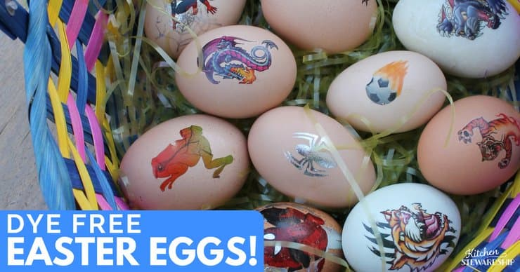 Easter basket of eggs decorated with temporary tattoos.