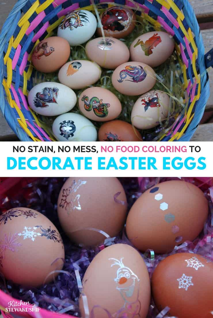 "Easter basket of eggs decorated with temporary tattoos. Words read, ""No Stain, No Mess, No Food Coloring to Decorate Easter eggs."
