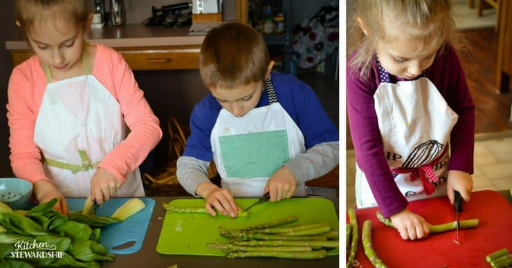 Kids chopping asparagus and bok choy.