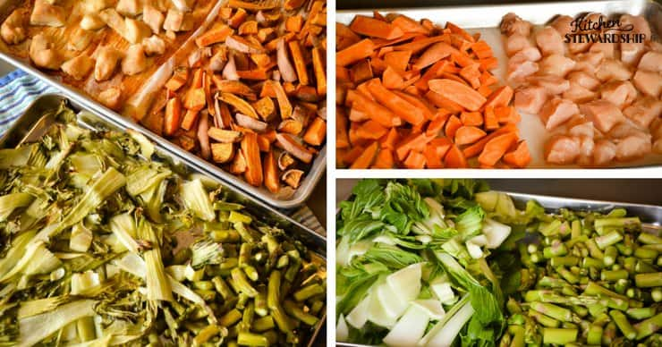 Sheet pan dinner - chicken, sweet potatoes, bok choy and asparagus. Before and after roasting.