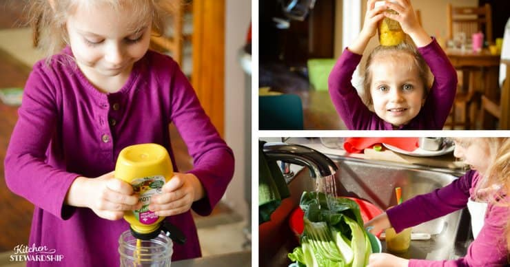 Toddler girl making salad dressing and washing bok choy.
