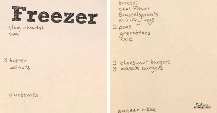Freezer inventory list