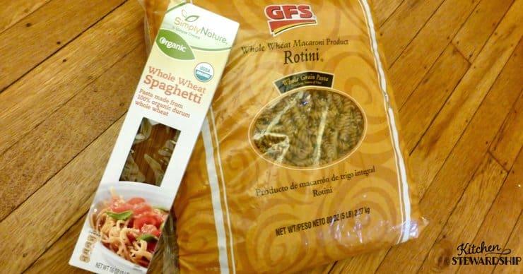 Box of whole wheat spaghetti and bag of whole wheat rotini from Gordon Food Services