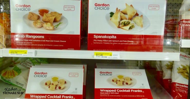 Frozen appetizers at Gordon Food Service.