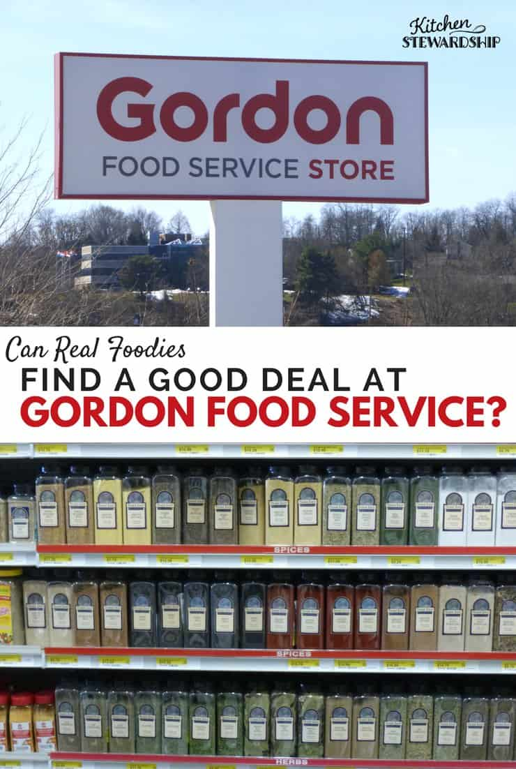 Gordon Food Service store sign and a shelf of dried herbs and seasonings.