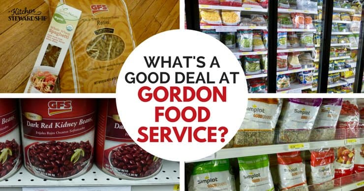 Food on shelves and in the freezer at Gordon Food Service.