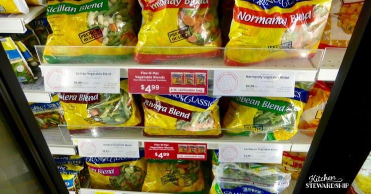Frozen vegetables at Gordon Food Service, GFS stock