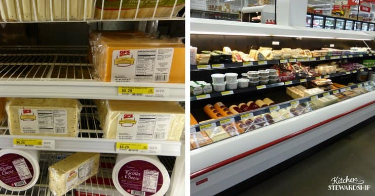 Block cheese and the cheese aisle and Gordon Food Service.