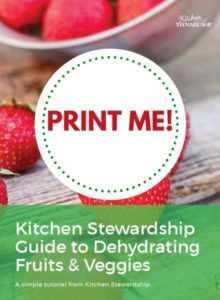 Printable guide to dehydrating fruits and veggies