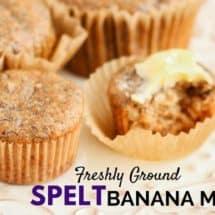 100% Whole Grain Spelt Banana Muffins