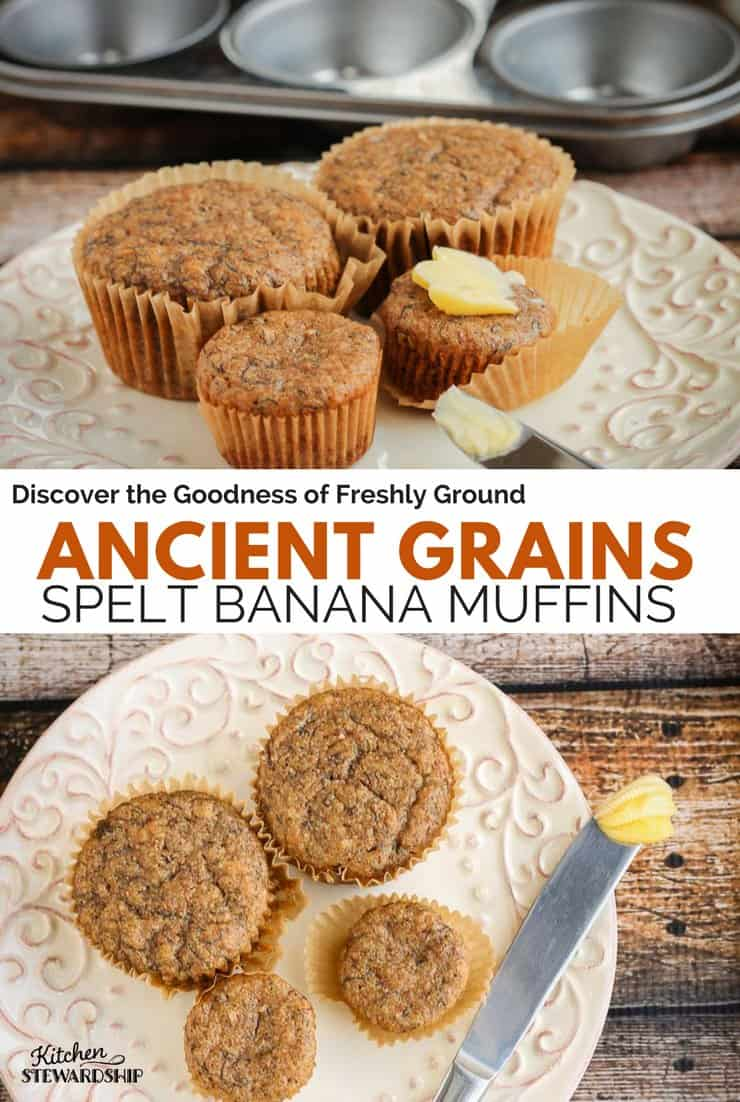 100% Whole Grain Spelt Banana Muffins on a plate