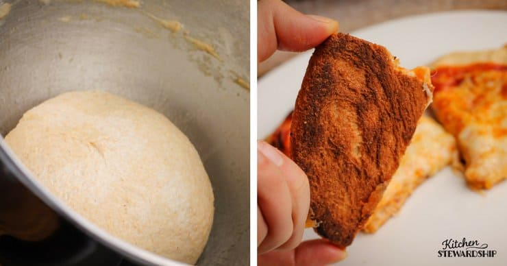 rising pizza dough and brown crispy whole wheat pizza dough crust.