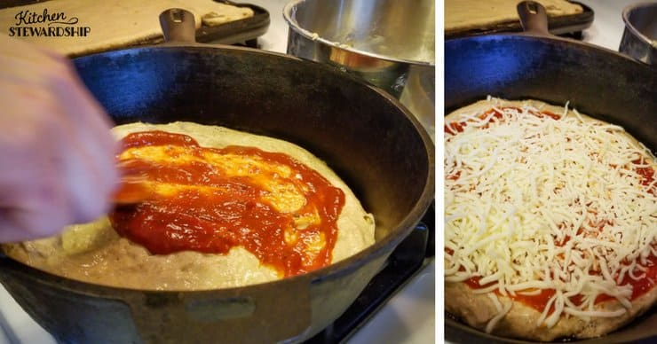 Whole grain einkorn pizza dough in a cast iron skillet. Spreading with tomato sauce and topping with cheese.