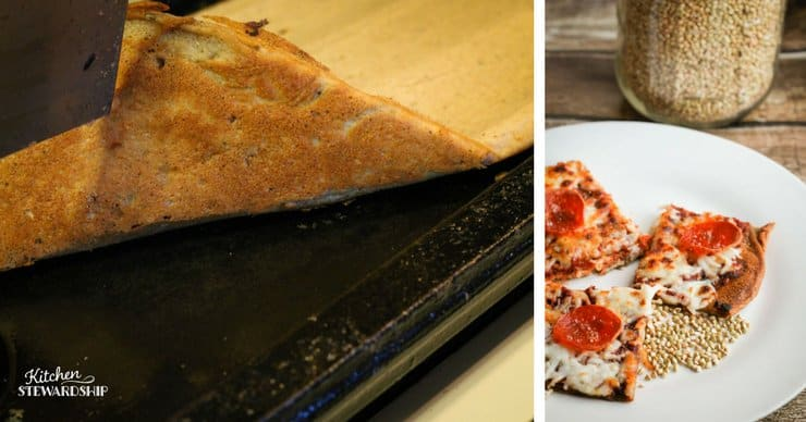 whole grain buckwheat gluten-free pizza crust, showing the crispy brown crust