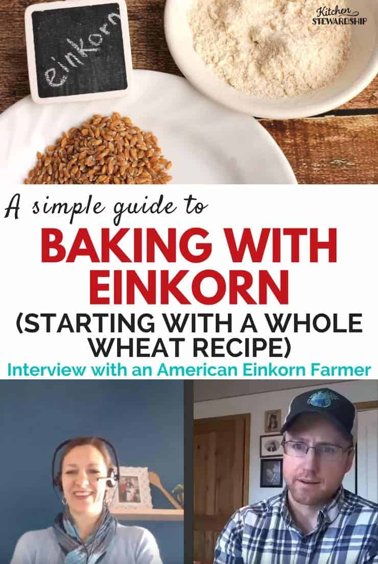 Einkorn flour and grains on plates. Pictures of Katie Kimball from Kitchen Stewardship and Jade an American Einkorn farmer.