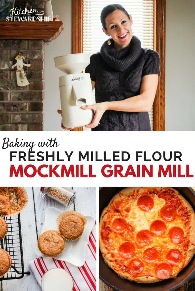 Katie Kimball of Kitchen Stewardship holding her Mockmill grain mill. Freshly baked whole grain muffins, and crispy crusted pepperoni pizza made with freshly ground whole wheat flour.