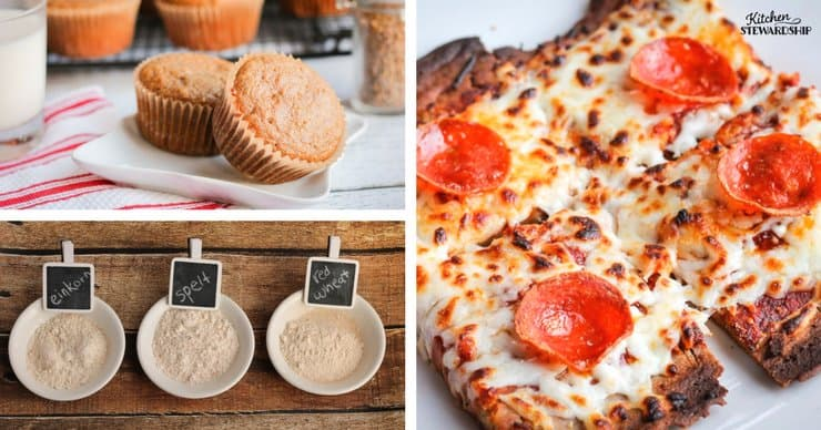 Freshly baked whole grain muffins, freshly ground einkorn, spelt and red wheat flours in bowls, homemade pepperoni pizza on a crispy homemade crust.