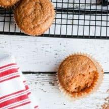 Freshly Ground Peanut Butter Applesauce Einkorn Muffins